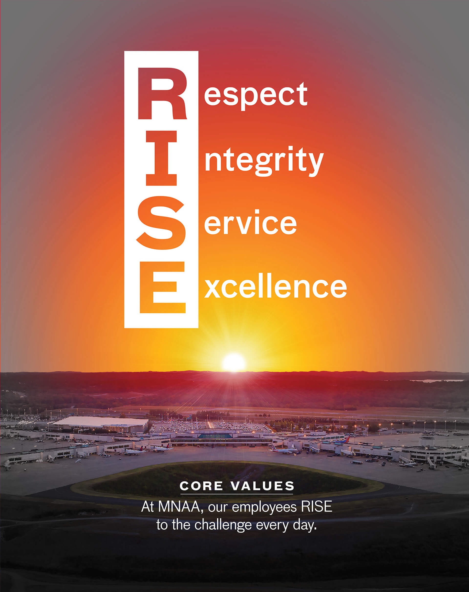 R.I.S.E. - Our Core Values - Respect, Integrity, Service, and Excellenece