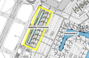 Diagram showing location of Satellite Concourse in relation to terminal